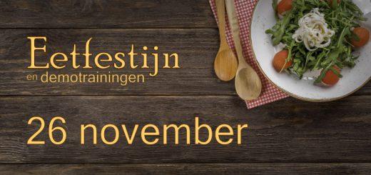Tafel met lekker gevuld bord en houten lepels en de titel: Eetfestijn en demotrainingen
